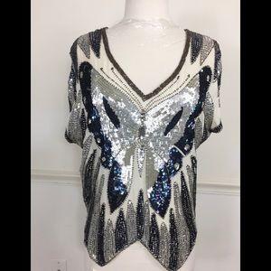 Anthropologie Antik Batik sequin top XS Buli T Top